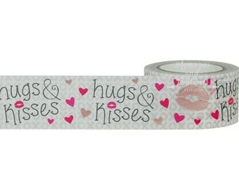 Hugs & Kisses Washi Tape - Rose Gold Washi Tape - Wide Washi Tape - Scrapbooking - Gift Wrapping - Planner Washi Tape - Little B - 296483