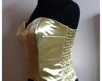 1950s vintage style Gold lamé 'boom boom!' suntop