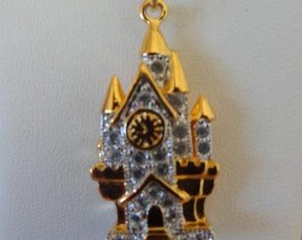 Cute Goldtone Jeweled DISNEY CASTLE Charm/Pendant