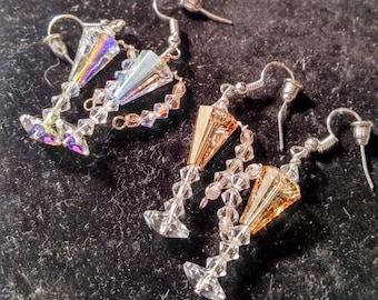 Champagne Earrings;beaded champagne glass earrings;Swarovski champagne earrings;crystal champagne earrings;crystal beaded champagne earrings