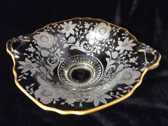 Wildflower Cambridge Glass Vintage Gold Overlay Bowl, Anniversary Gift
