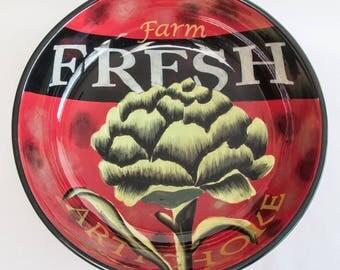 Vintage Certified International Jennifer Brinley Farm Fresh Artichoke Dinnerware Large Ceramic Serving Salad Pasta Fruit Bowl