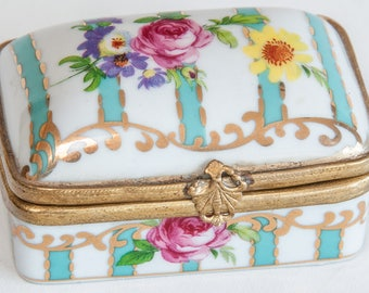 Vintage Metal and Ceramic Trinket Box with Hand Painted Flowers