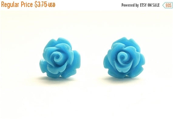 20% OFF SALE Tiny Baby Blue Rose Earrings, Only 3.75 per pair
