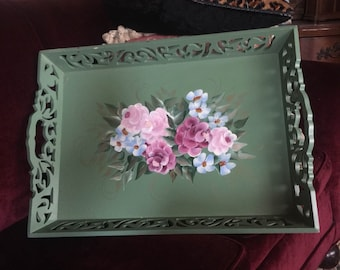 French Country Shabby Chic Farmhouse Romantic Cottage Tole Roses Tray