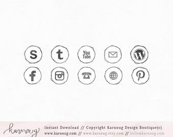 Sketch Watercolor Social Media Icons, Clip Art, Downloadable Clip Art, Social Media Icons, Hand drawn Social Media, grey Icons, Web Buttons