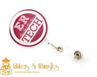 ER Tech | Emergency Room Technician Wine/Maroon Retractable Badge Holder
