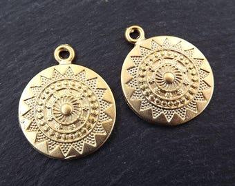 Ethnic Sun Mandala Round Disc Pendants - 22k Matte Gold Plated - 2PC