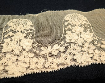 Antique French Ivory Lace-Embroidered Tulle-Handmade.Vintage Supplies for costum project.