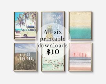 SALE - Set of Six Printable digital art - Summer bohemian prints - Photography art - Typography prints - Apartment decor - Peach Teal Green