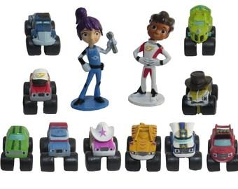 Blaze & Monster Machines CAKE TOPPER AJ Gabby Crusher Starla Zeg Stripes 12 Figure Set Birthday Party Cupcakes Figurines * Fast Shipping *