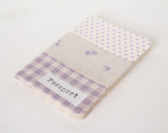Zakka style passport cover - holder in gingham, dots and roses light purple fabric