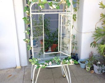 Large Metal Bird Cage White Metal Rolling Bird Cage on Stand Shabby Chic Wedding Decor Card Holder XL White Chippy Metal Bird Cage on Wheels