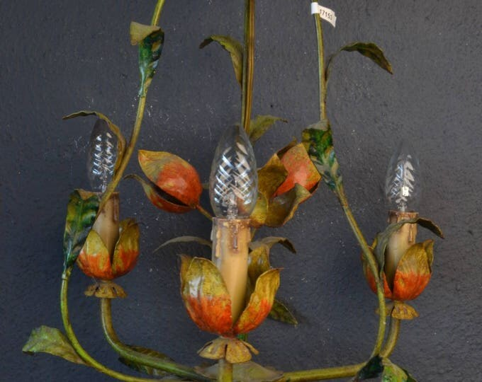 Beautiful tole Flower Chandelier with large metal flowers (with long ceilingchain)