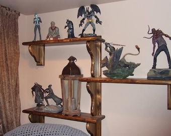 Display shelf, three tier shelving, vintage style shelving, solid wood shelf