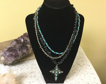 Vintage Turquoise Black Onyx Cross Necklace