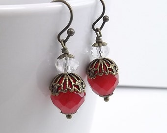 Antique Brass Earrings with Czech Firepolish Scarlet Red Beads