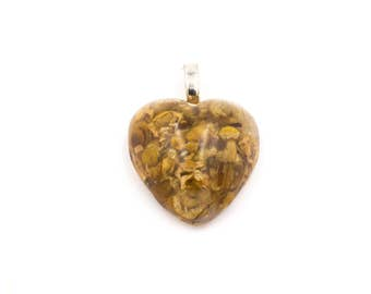 Chamomile flower herbs in Heart Shaped Resin Pendant