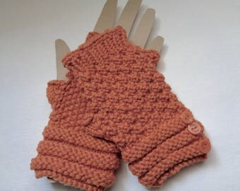 Orange Fingerless Gloves, Hand Warmers with buttons, Texting Gloves, Knit Wrist Warmers, Women's Gloves, Walking Gloves, Exercise Mittens