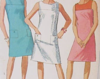 Vintage Simplicity 1960s  Simplicity Jiffy Pattern #7118  Misses Sleeveless Shift Summer Dress Size 14