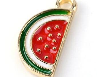 Limited Time Only, Enamel Watermelon Charms, Summer Charms, Gold Watermelon, Fruit Charms, Foodie Charms, Watermelon Pendants, SLT079