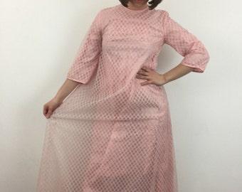 1960s pink dress vintage gingham A line bubblegum 60s Mod prom evening bridesmaid vintage wedding cute checkered UK 8 tent dress