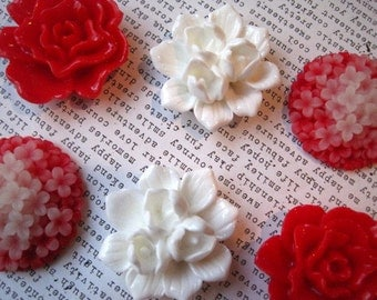 Red and White Magnets, 6 pc Flower Magnets, Large Fridge Magnet, Housewarming Gifts, Wedding Favors, Locker Magnets