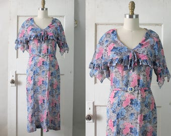 Vintage 1930s Grey, Blue, & Pink Cotton Dress / Early 30s Floral Gauze Dress w/ Capelet / Melody Lee Dress