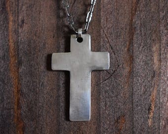 hand-made fine silver cross on a textured sterling silver chain