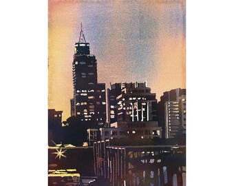 Downtown Raleigh, NC skyscrapers and PNC Building at sunset, North Carolina.  Raleigh, NC painting watercolor landscape Raleigh art painting