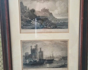 Pair of 19th century engravings of Caernarvon 1831 framed in England in one frame. Tourist art unique and collectable.