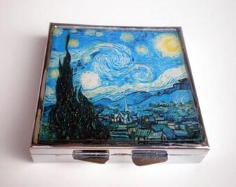 Pill box - Pill container - Mint case - Art pill box - Van Gogh art - Starry Night - Van Gogh box