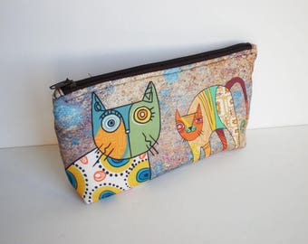 Cosmetic bag, Makeup bag, zipper pouch, pencil case, make up bag, cats, small bag, fabric pouch, cats, pouch, cat bag, cat makeup bag