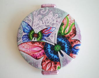 Pocket mirror, hand mirror, Butterfly, Printed pocket mirror, butterfly pocket mirror, Gift for her, Woman gift, Gift idea
