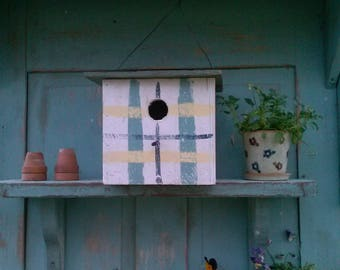 Hanging Birdhouse  with a plaid design