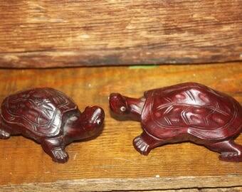 Vintage Pair Small Rosewood Carved Turtles