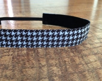 Black and white houndstooth headband. Black headband, black and white headband, women's black headband, girls black headband
