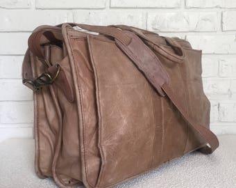 Vintage Distressed Leather Messenger Bag