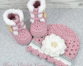 Crochet Baby Girl Fur Trim Boots and Hat with Flower - 321