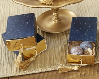 24 Constellation Slide Favor Boxes with Gold Foil and Tassel Party Favor Boxes
