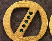 Metal Oz Inspired Pendant with Green Rhinestones