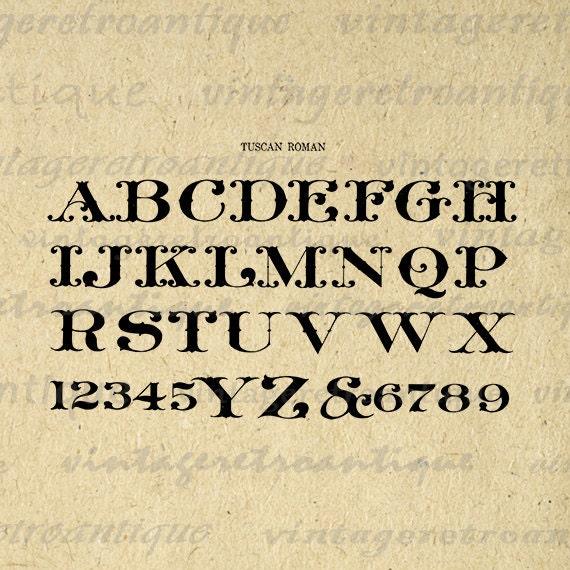 Antique Alphabet Graphic Digital Printable By