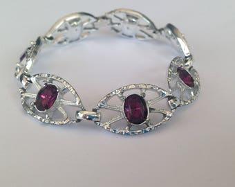 Vintage Sarah Coventry Silvertone and Purple Glass Stone Link Bracelet.