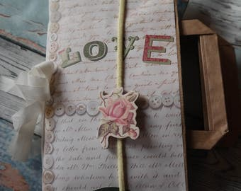 romantic mini album of vintage paper bag
