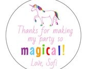 12 Unicorn Magical Stickers, Unicorn Birthday, Rainbow Party, First Birthday, Unicorn Theme, Pink Unicorn, Girl Birthday, Magical Party