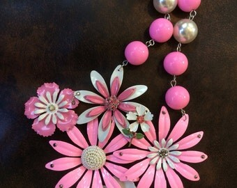Prettiest in Pink Enamel Flower Assemblage Necklace