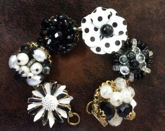Vintage Earring Bracelet in Black and White