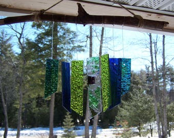 Stained glass wind chime, green and blue glass wind chime, windchime, wood and glass windchime, new home gift, gifts under 25, housewarming