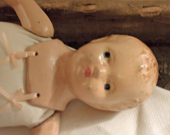 Tragic Vintage / Antique Composite Doll / Tattered Doll / Linen Fabric Body / Antique Composition Doll