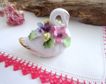 Royal Adderley Swan Figurine with  Flowers and Gold Accents Bone China Made in England